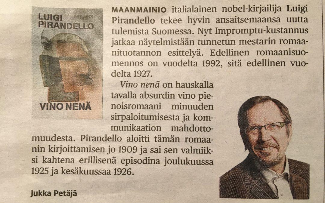 HS Kulttuuri 6.1.2019: PIRANDELLOA SUOMEKSI!